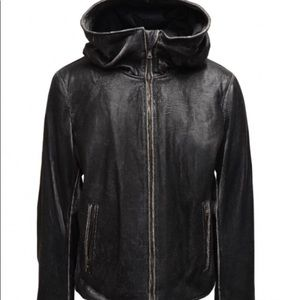 John Varvatos scored leather hooded jacket. Medium